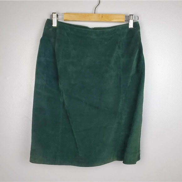 VINTAGE Green Suede Leather Mini Skirt Small